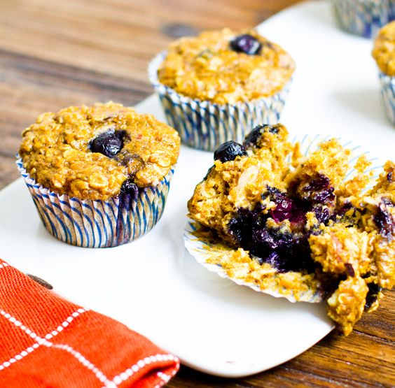 Pumpkin Chai Oatmeal Blueberry Muffins