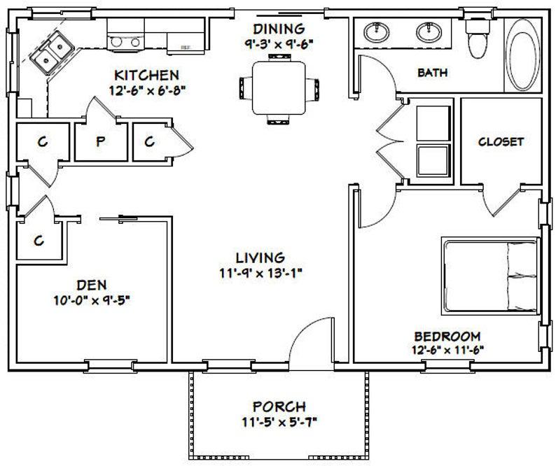 36x24 House 1Bedroom 1Bath 864 sq ft PDF Floor Plan