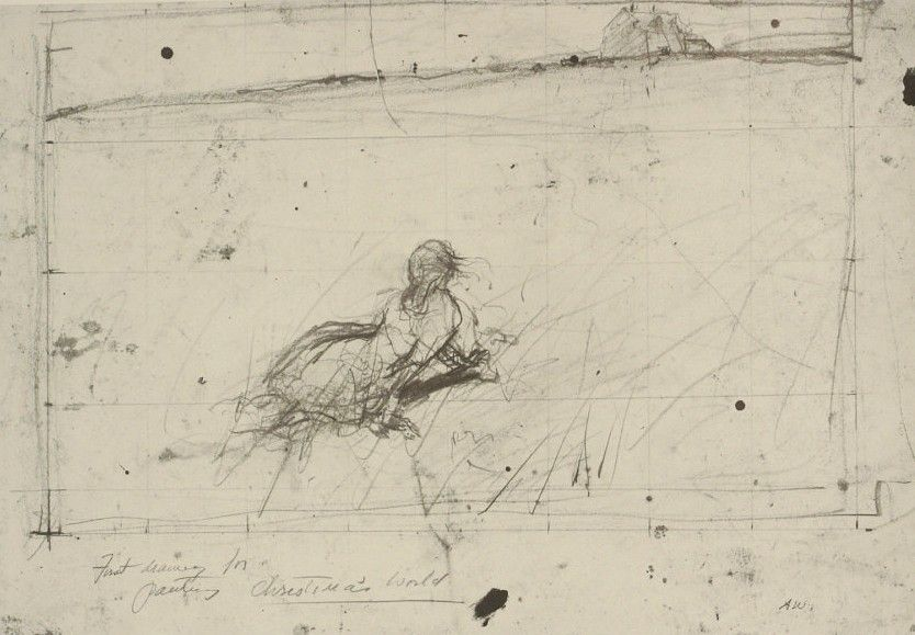 """andrew wyeth - prep drawing for """"christina's world"""""""