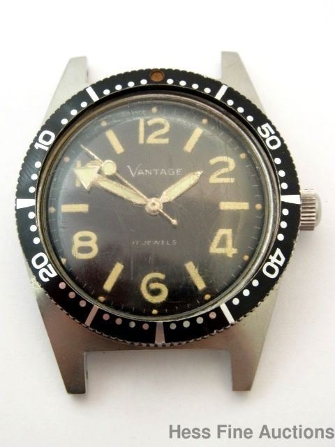 Hamilton Vantage Stainless Steel 17J Vintage Working Divers Mens Wrist Watch  #Hamilton
