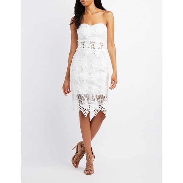 Charlotte Russe Embroidered Crochet Bodycon Dress ($24) ❤ liked on ...