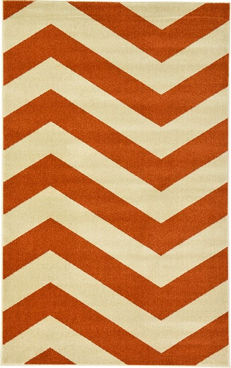 Rust Red Chevron Area Rug