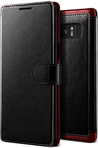 buy popular 23e95 baf6f Note 8 Case Premium PU Leather ID Card Slot Wallet Drop Protection ...