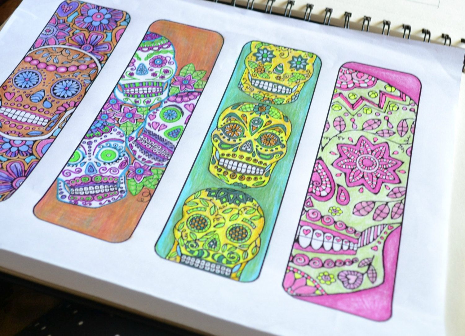 Sugar Skull Bookmarks to Color and Print - Bookmark Coloring Page ...