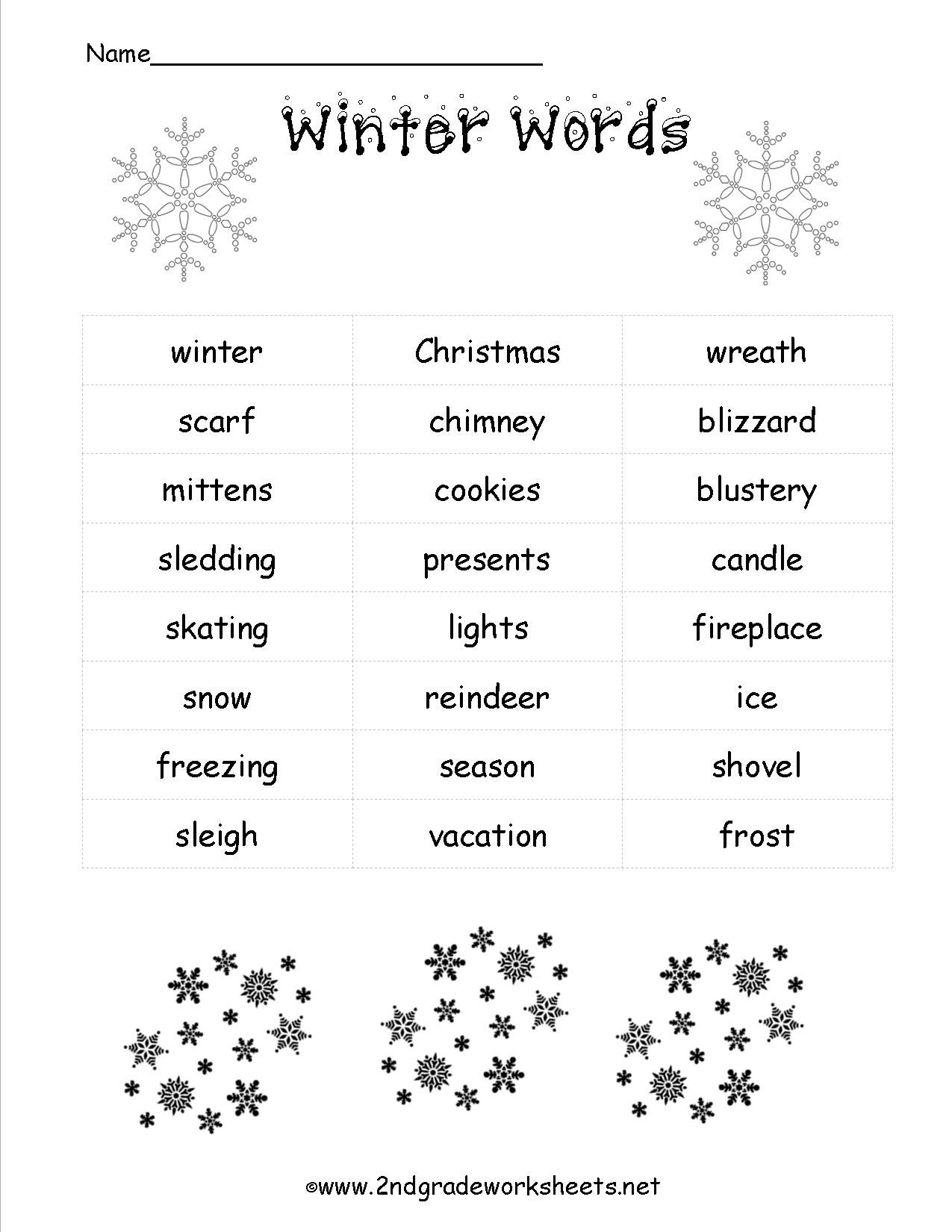 Image Result For Winter Weather Words