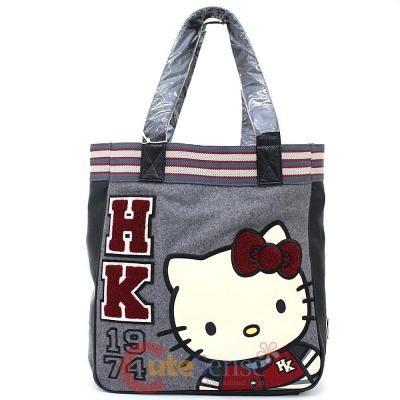 Sanrio Hello Kitty Varsity Tote Hand Bag Loungefly Canvas Leather School Look at CuteSense