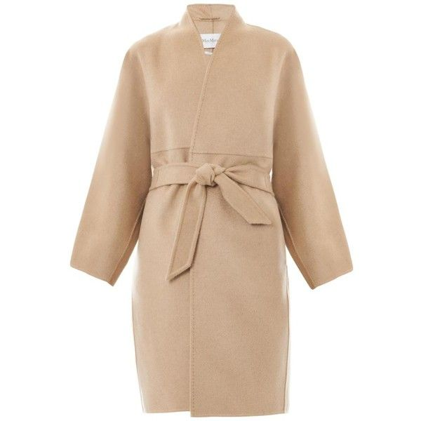 MAX MARA Valenza coat ($1,470) ❤ liked on Polyvore featuring outerwear, coats, jackets, beige, coats & jackets, maxmara, wool cashmere coat, cashmere coat, maxmara coat and cocoon coat