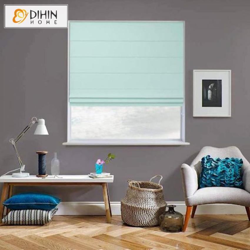 DIHIN HOME Modern Aquatic Blue Color Roman Shades ,Easy