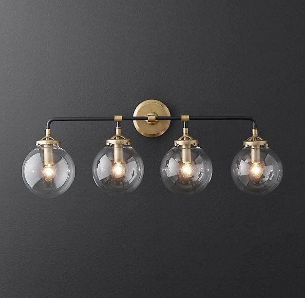 Lovely Gold Tone Bathroom Light Fixtures Rh Modernu0027s Bistro Globe Bath Sconce 4 Inspired