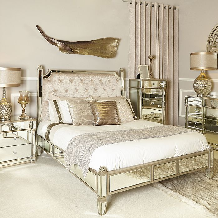 Andreas Champagne Gold Mirrored King Size Bed This Beautiful