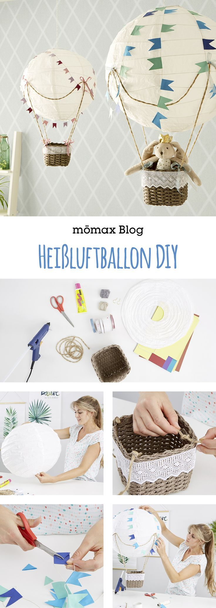 Heißluftballon für's Kinderzimmer DIY Kinder zimmer