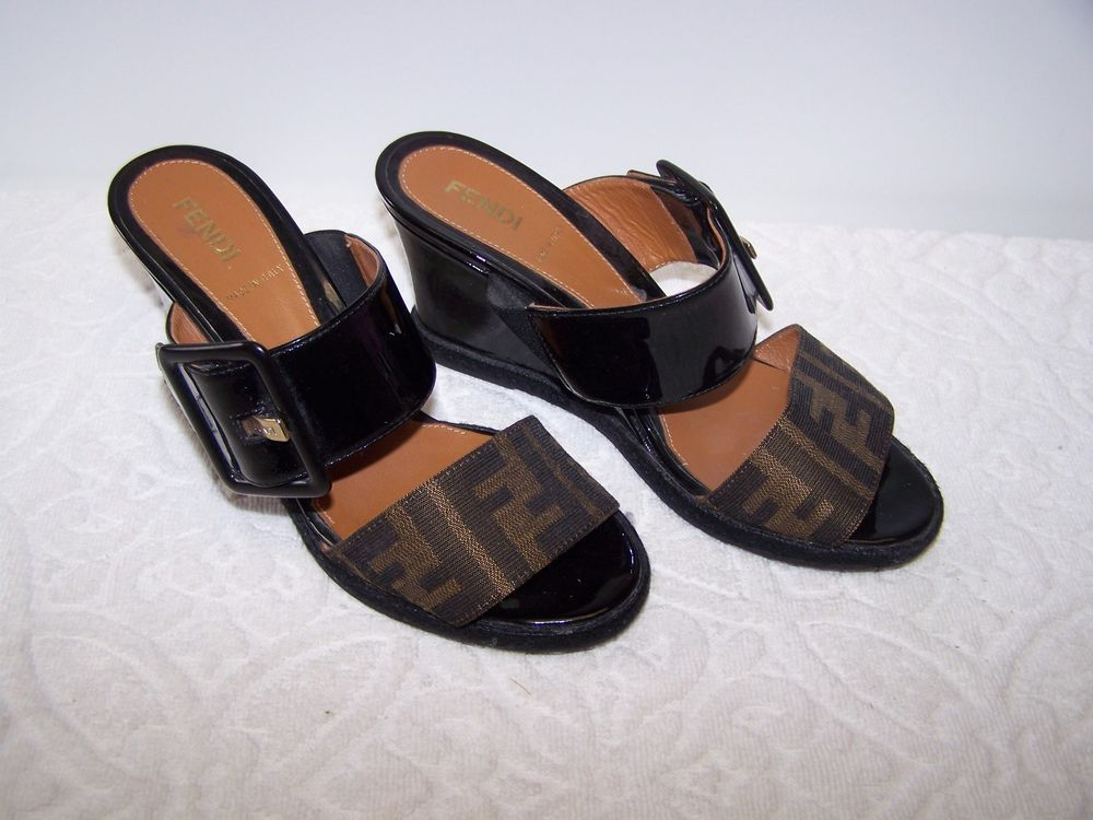 Fendi Black Brown Vernis Zucca Wedge Sandal Shoes Size 35 / US 5 ...