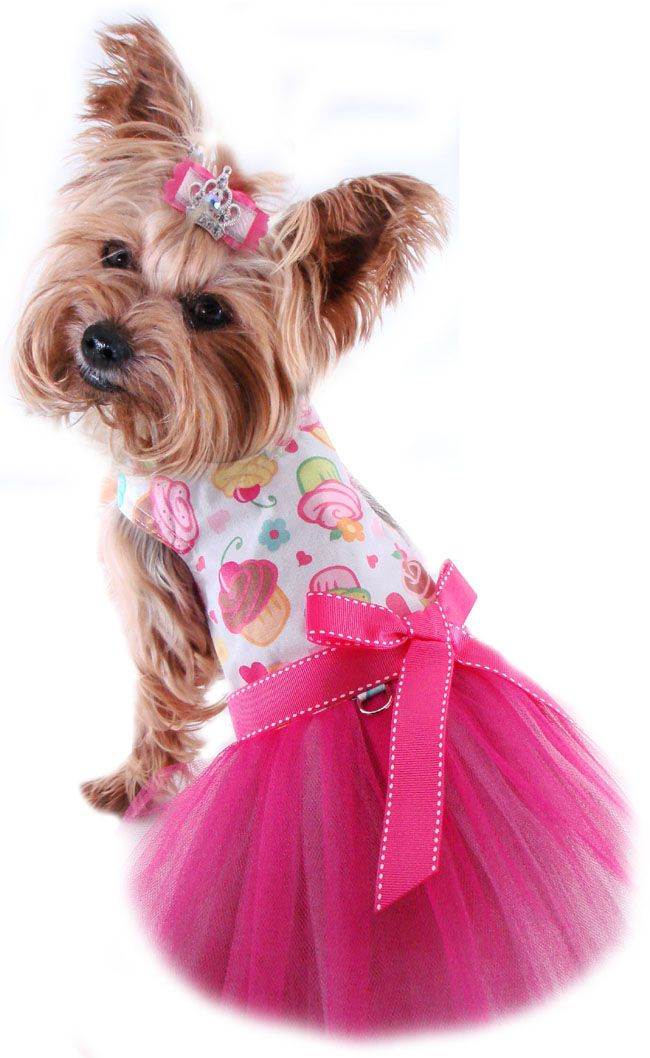Small Dog Clothes Cupcakes Harnness Dress Tulle Tutu Dog