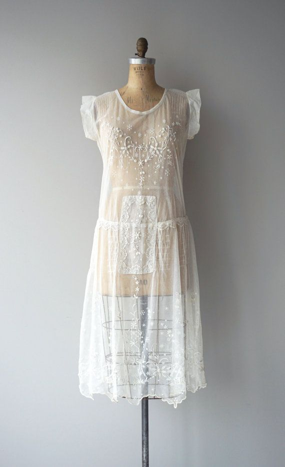 d18a8f98674 Airy antique 1920s sheer silk embroidered net dress with cap sleeves