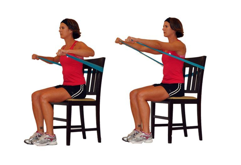 gym chest chair folding floor target you can still workout your upper body from a exercise seated press with band