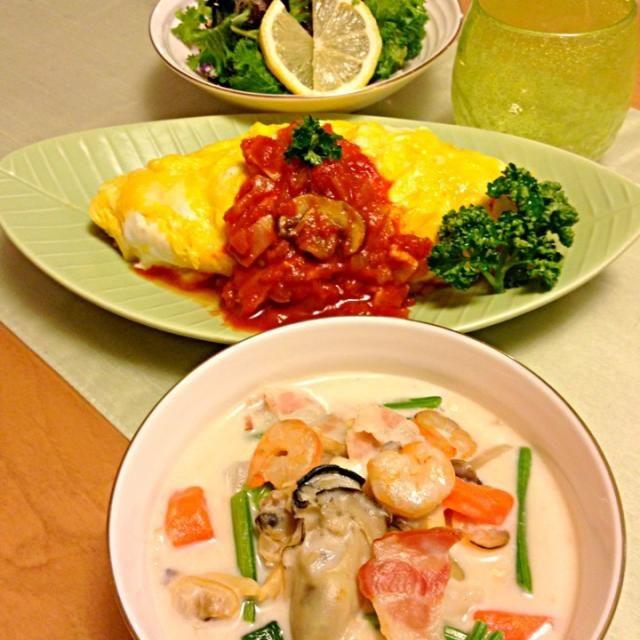 トマトソースのオムライス 牡蠣のクラムチャウダー グリーンサラダ - 241件のもぐもぐ - 牡蠣のクラムチャウダー                      トマトソースオムライス by Kuuchan