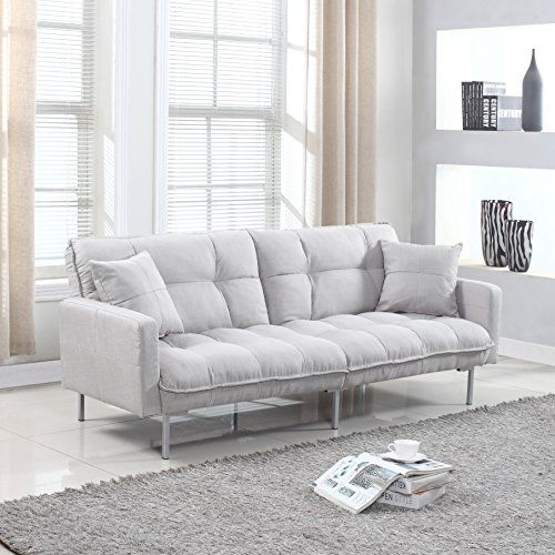 Divano Roma Furniture Collection Modern Plush Tufted Linen Fabric Splitback Living Room Sleeper Futon Light Grey Learn More By Visiting The Image Link