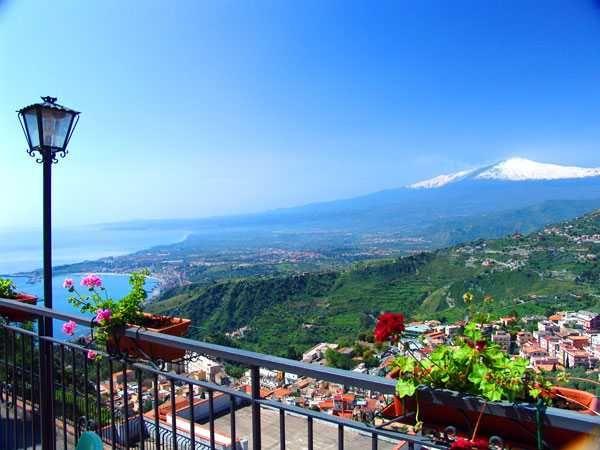View from Castelmola Taormina European honeymoons