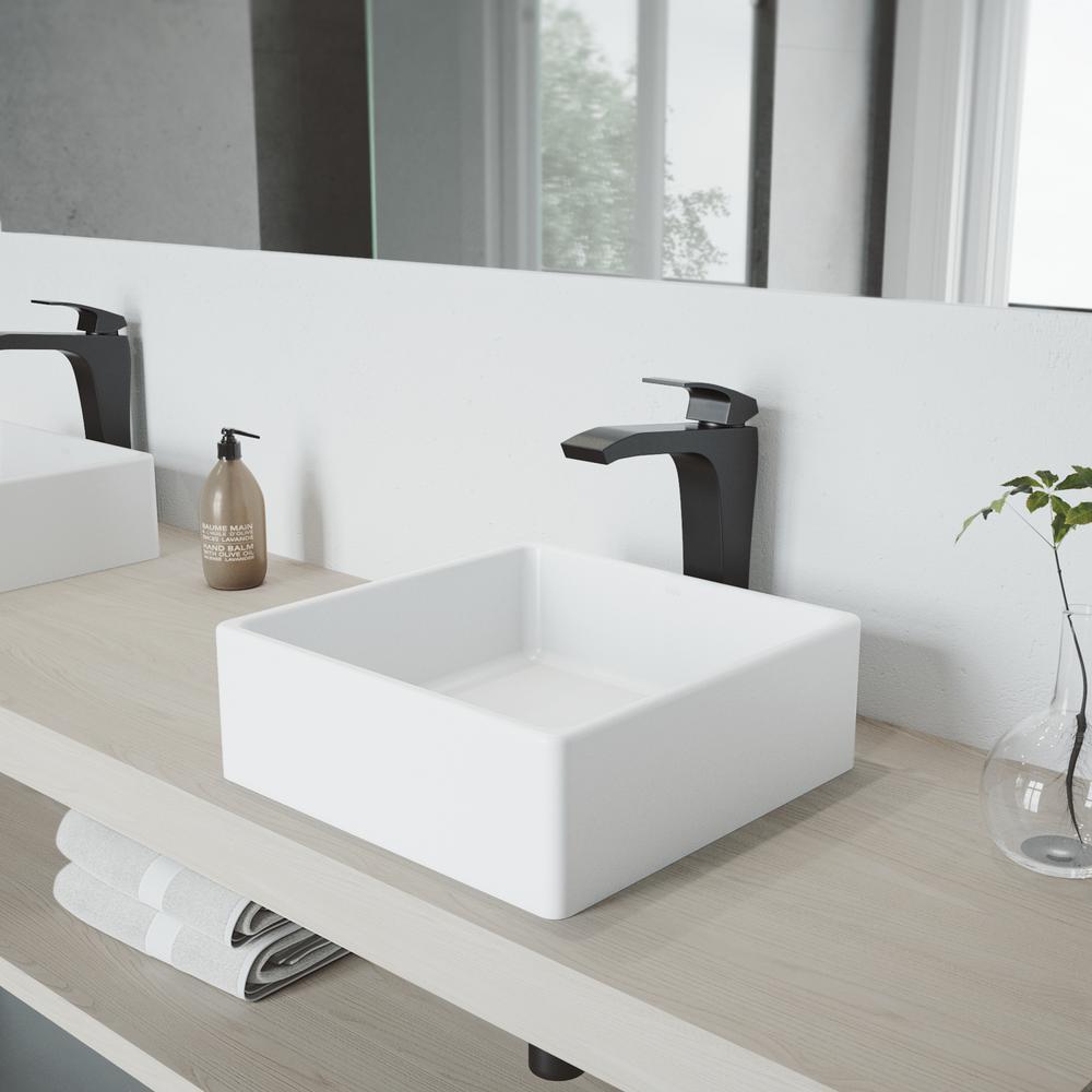 Dianthus White Matte Stone Vessel Bathroom Sink And Matte Black Blackstonian Faucet Set With Pop Up Drain Matte