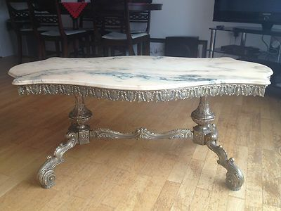 Antique French Marble Top Gilt Brass Coffee Table Ebay Brass