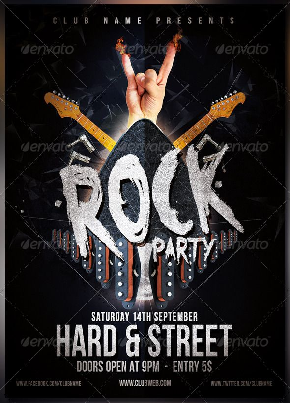 Rock Party FlyerPoster  Party Flyer Rock And Print Templates