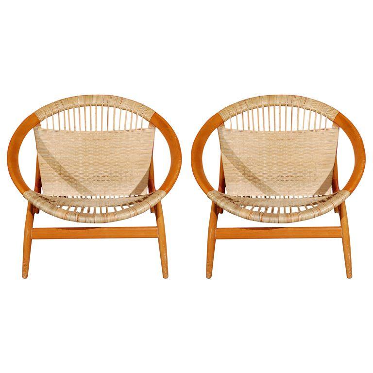 Pair of 39 ringstol 39 chairs by illum wikkelso furniture for Schaukelstuhl illum wikkelso