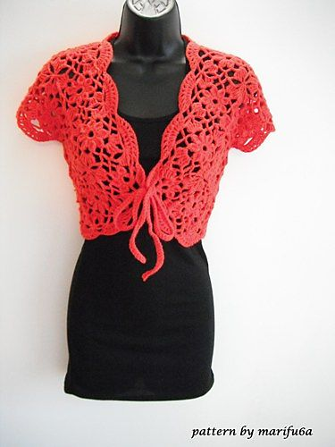 Ravelry: crochet flower bolero shrug pattern pattern by marifu6a
