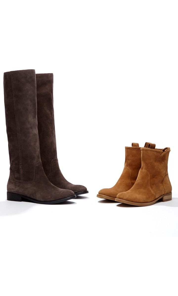 Plush suede tall boots with a slouchy shape and a rounded toe.