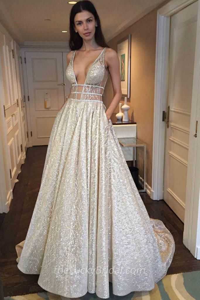 feacfd1f577 Stunning Light Champagne Glitter Plunging Neckline Sheer Top Prom ...