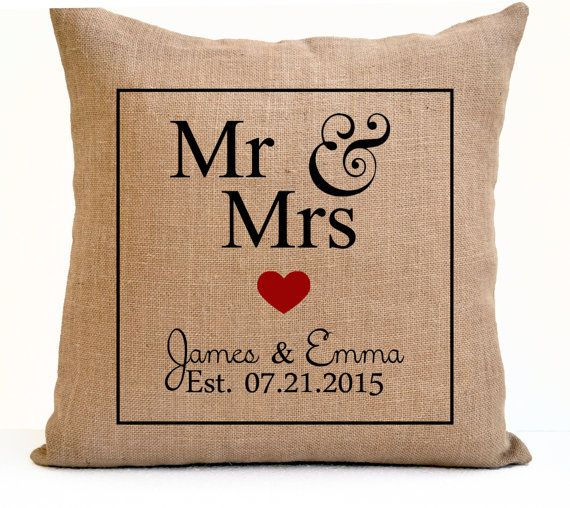 Mr Mrs Pillow Est Date Burlap Pillow Monogrammed By