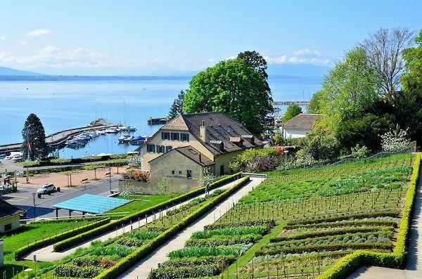 Terraced Garden Harbor And Lake Geneva In Nyon Switzerland Encircle Photos Lake Geneva Terrace Garden Lake