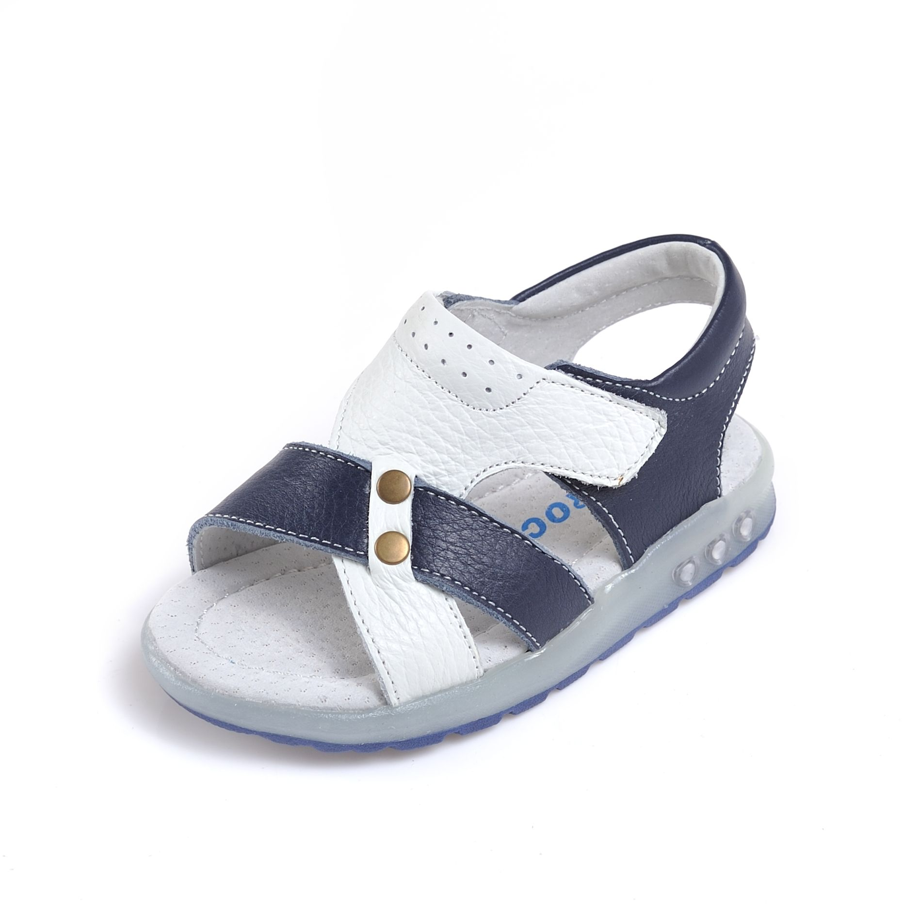 Cody boys navy and white leather sandals Caroch boys shoes