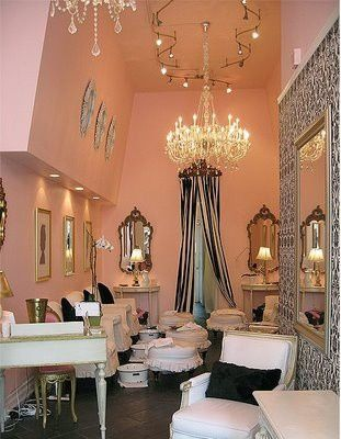 Pink Black And White With Chanderlier Beauty Salon Decor
