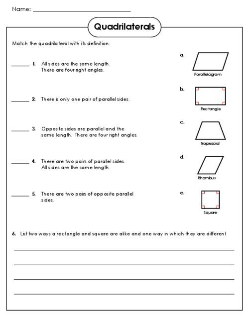 Image result for quadrilateral worksheet for 3rd grade ...