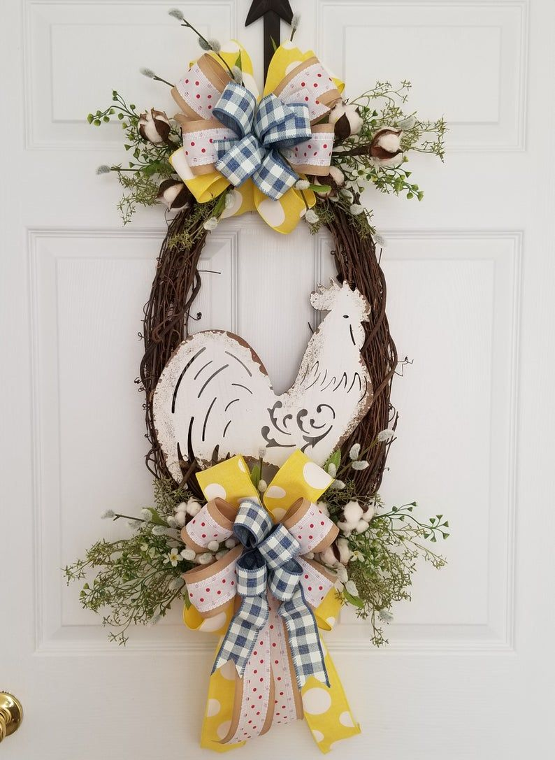 Farmhouse rooster front door wreath kitchen rooster wreath