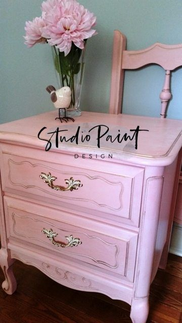 """Photo of Pretty in Pink """"Margie"""" Painted French Provincial Bed and Night table 