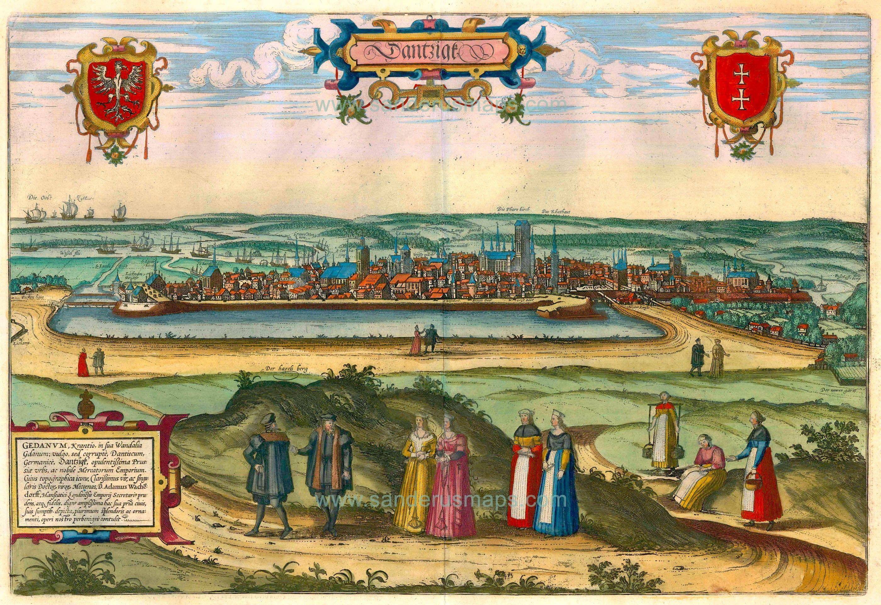 Old Antique Map Bird S Eye View Of Gdansk By Braun Hogenberg