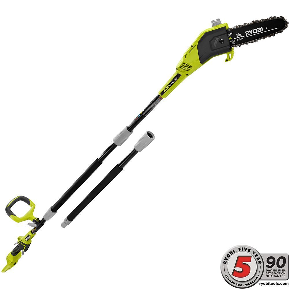 Ryobi 8 In 40 Volt Lithium Ion Cordless Battery Pole Saw Tool
