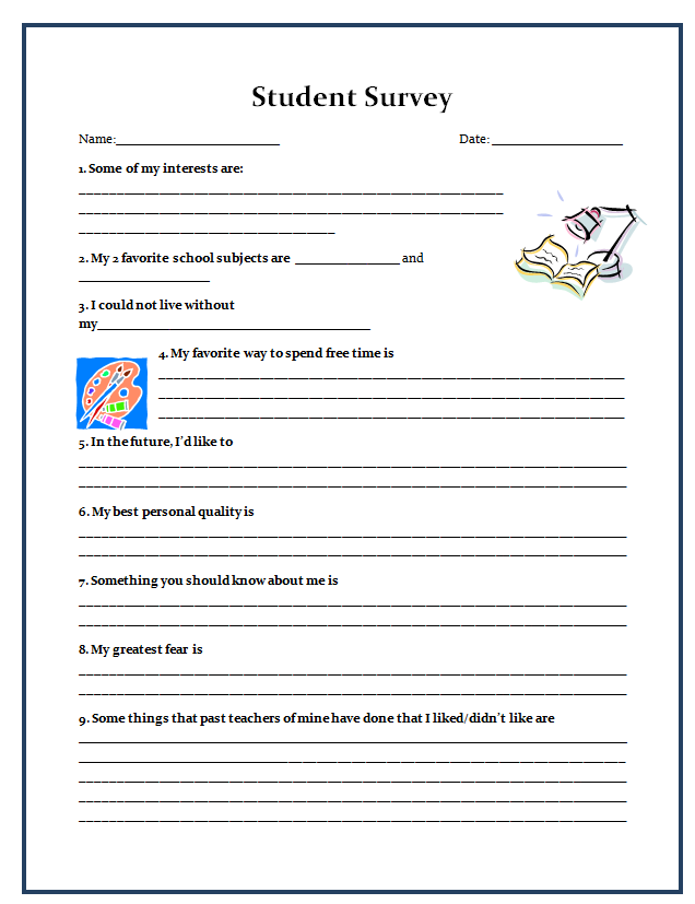17 Best images about Student Surveys – Student Survey Template