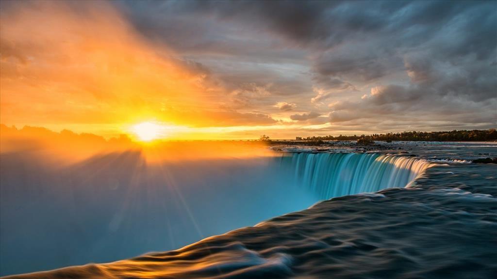 Fond D Ecran Chutes Du Niagara Chutes Du Niagara Coucher De Soleil Paysage