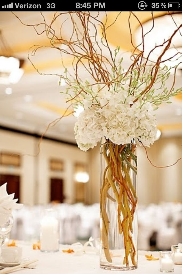 I Also Like The Curly Willow Look For The Banquet But We Don T Have Any Tall Vases May Be Branch Centerpieces Wedding Wedding Branches Wedding Centerpieces