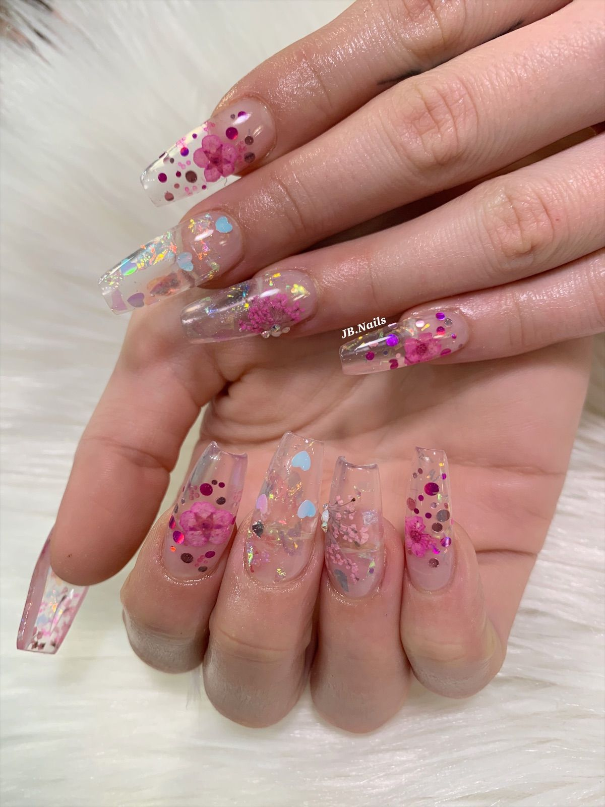 Encapsulated Flowers Glass Nails Jelly Nails Flower Nails