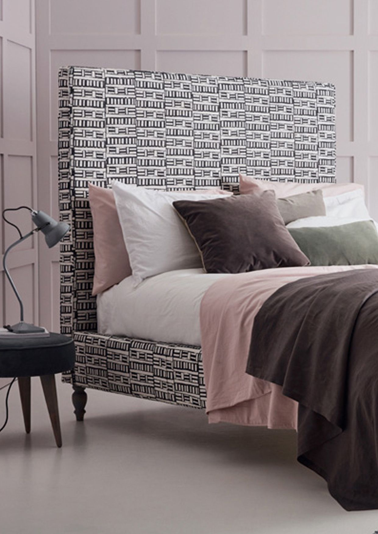 Sleepy House Black And White Block Print Style Upholstered Bed