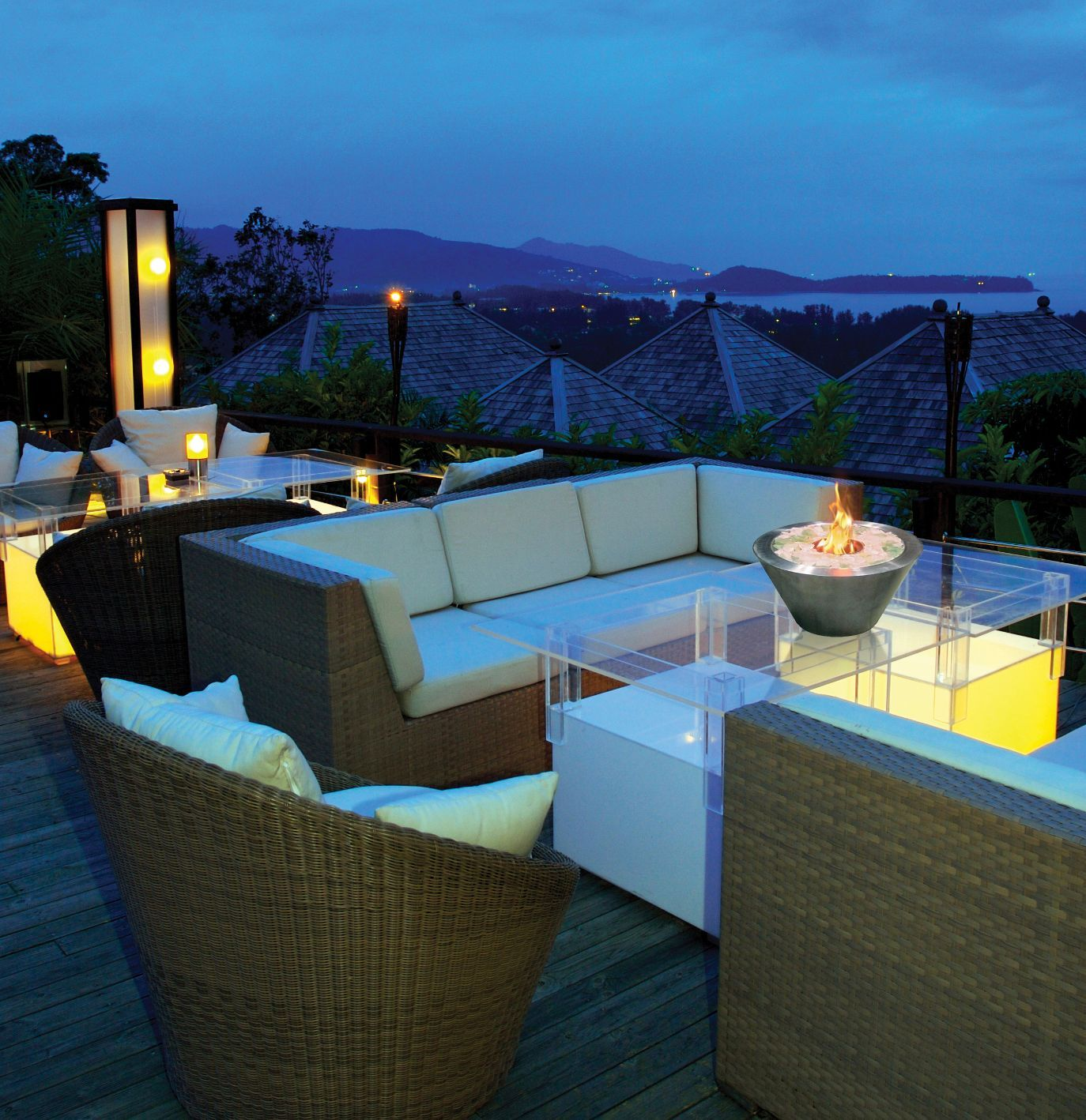 Outdoor rooftop patio with table top mini fire pits