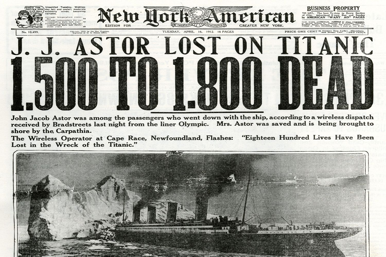 Image result for news papers when the titanic sank