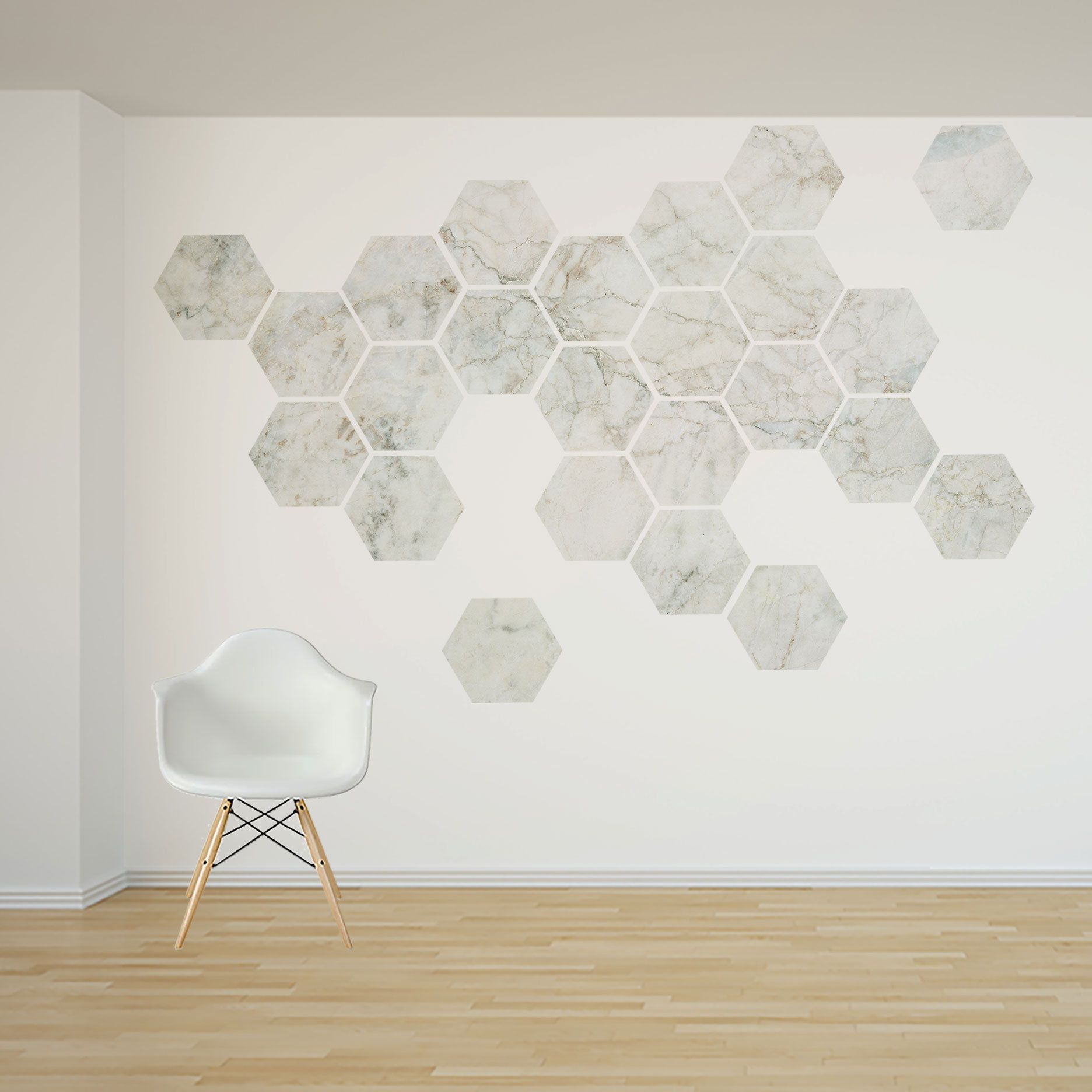 Removable Marble Honeycomb Wall Decal 16 Or 24 Hexagon Stickers