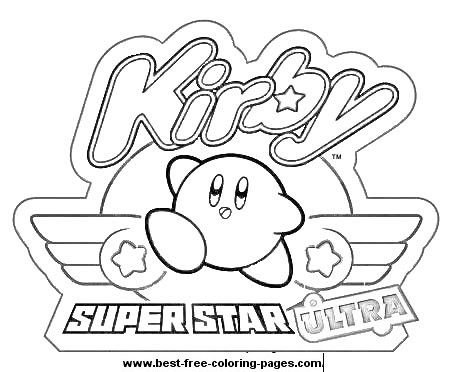 Kirby Ultra Super Star Coloring Page With Images Star Coloring