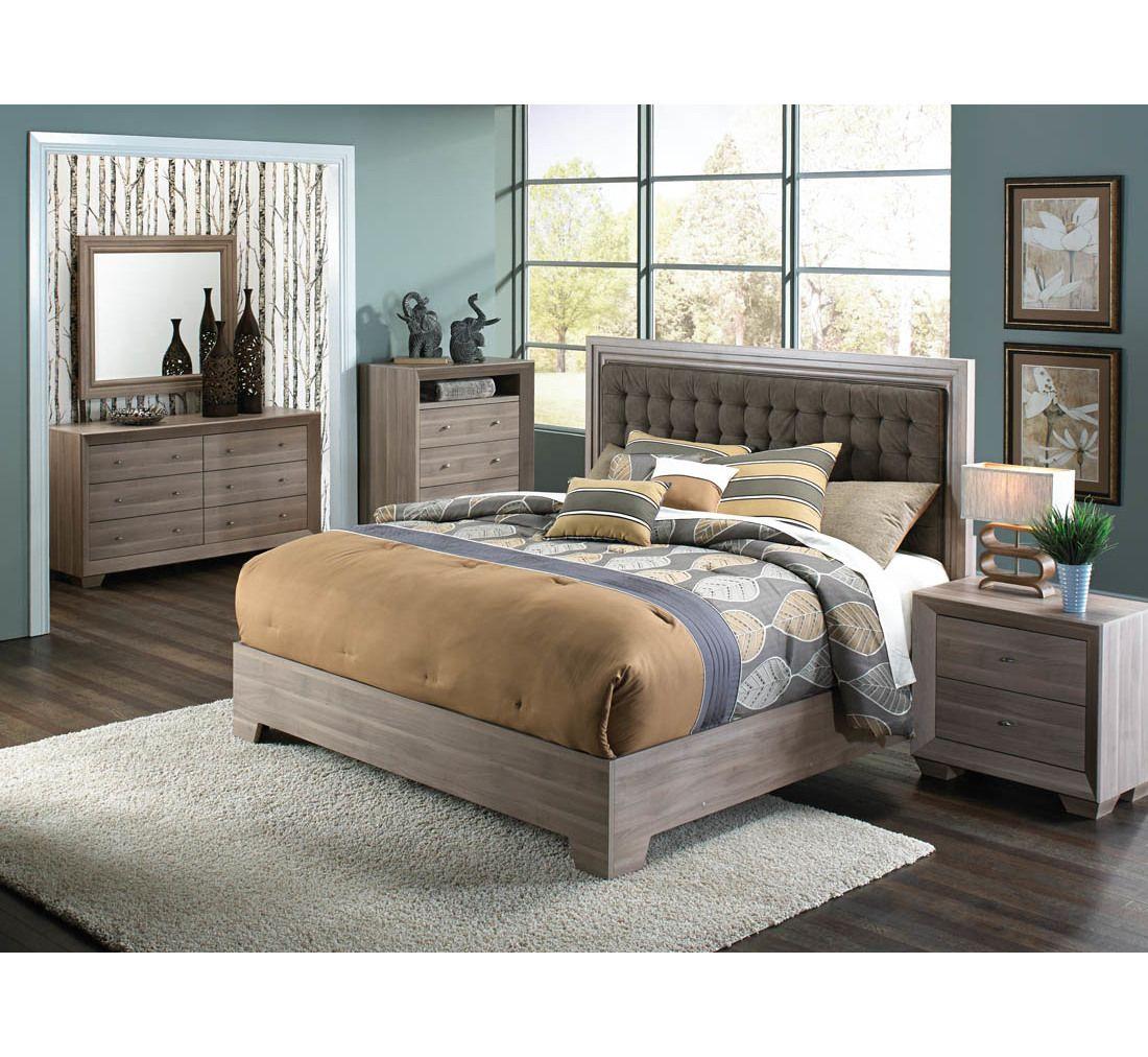 milan driftwood 5 pc queen bedroom group | badcock &more