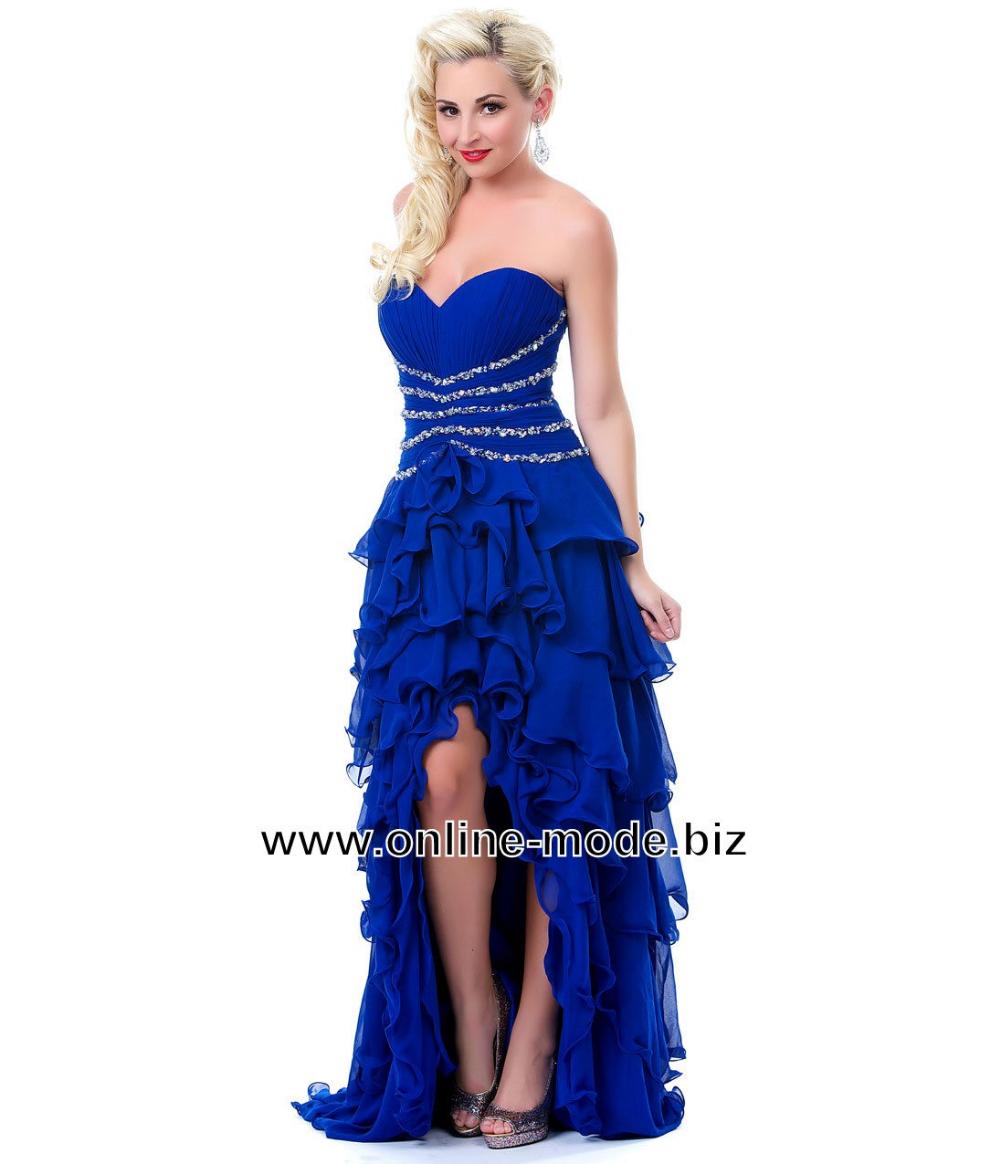 Vokuhila Kleid Abendkleid Vorne Kurz Hinten Lang in Blau  Blaue