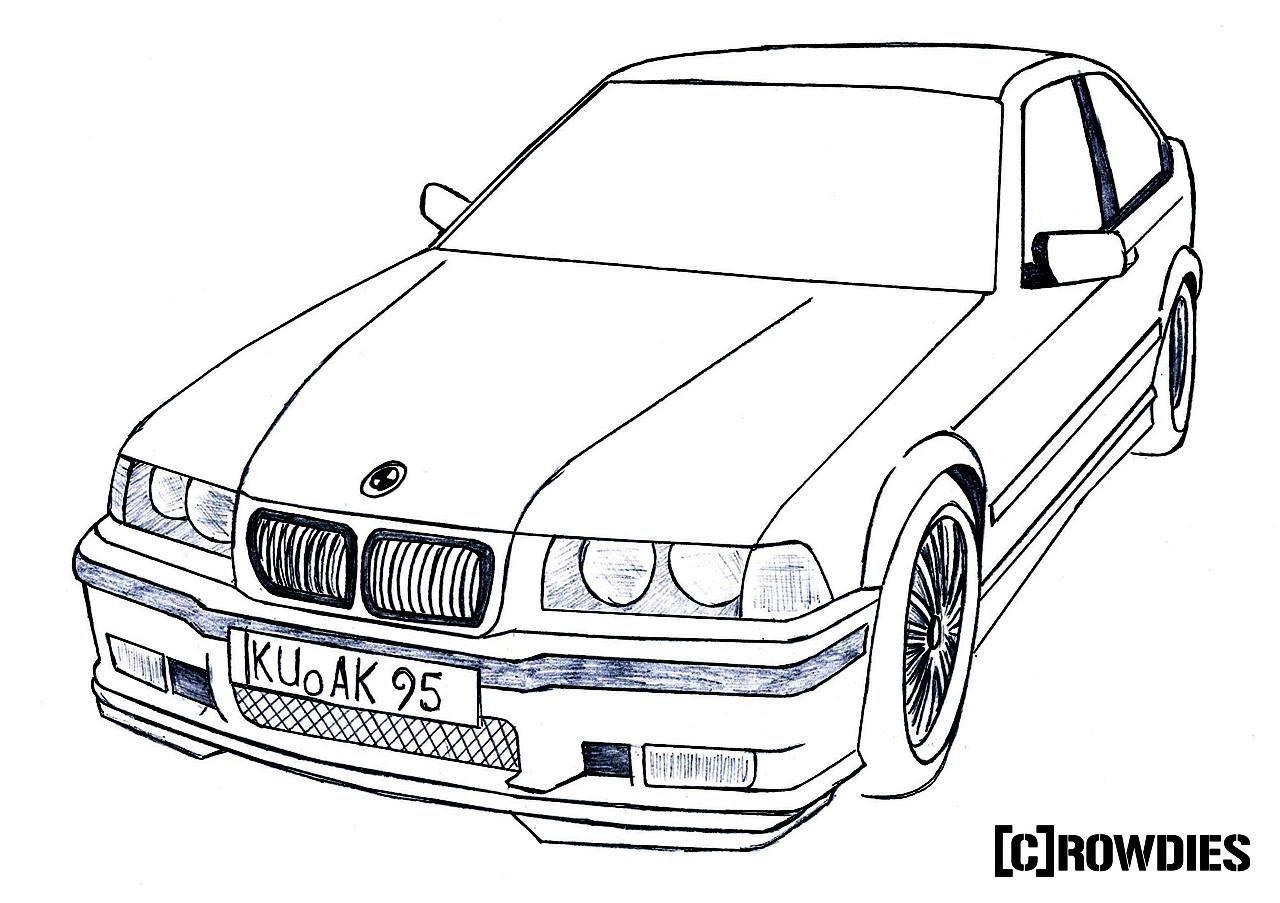 Drawing Zeichnung Gk Tshirts Bmw E36 Compact Truck Art